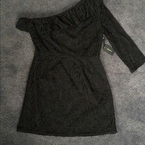 Forever 21 Black Lace One-Sleeve Mini Dress